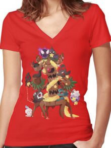 Ghostly Christmas Women's Fitted V-Neck T-Shirt