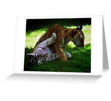 Tiger Cubs at Play Greeting Card