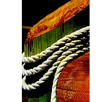 Rope on Wood Piling Photographic Print