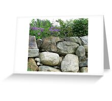 stone wall with flowers Greeting Card