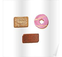 Biscuits: Custard Cream, Party Ring and Bourbon Poster