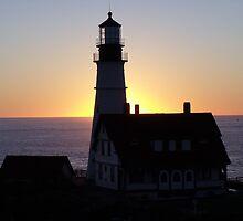 Portland headlight at sunrise by irmajxxx