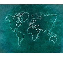 World map blue light Photographic Print