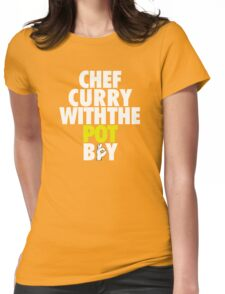 Chef Curry With The Pot Boy [With 3 Sign] White/Gold Womens Fitted T-Shirt