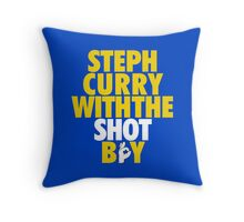 Steph Curry With The Shot Boy [With 3 Sign] Gold/White Throw Pillow