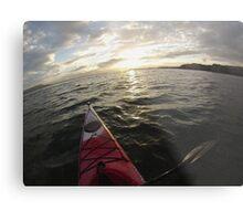Sea Kayaking into the Sunset Metal Print