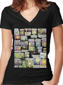 Pon and Zi Collage Women's Fitted V-Neck T-Shirt