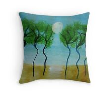 Trees(green) Series #2, watercolor Throw Pillow