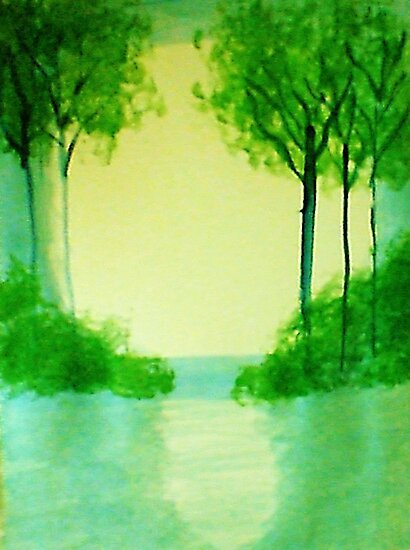 Trees in the halo of sunset, Series  #1,, watercolor  by Anna  Lewis