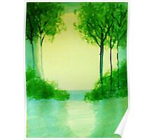 Trees in the halo of sunset, Series  #1,, watercolor  Poster