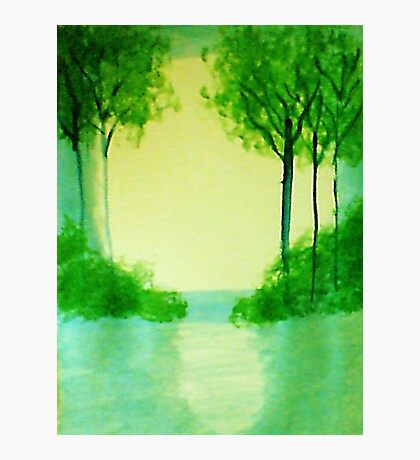 Trees in the halo of sunset, Series  #1,, watercolor  Photographic Print