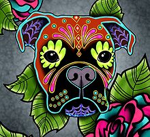 Day of the Dead Boxer Sugar Skull Dog by prettyinink