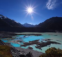 Sunburst over Aoraki from Kea Point - New Zealand by Mark Shean
