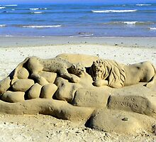 The lonely beach sculptor by Pieta Pieterse