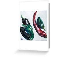 Chillies in a corner Greeting Card