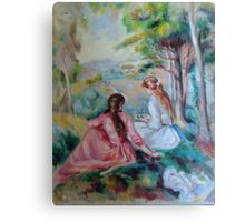 Two girls in a French countryside - Renoir copy Canvas Print