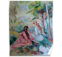 Two girls in a French countryside - Renoir copy Poster
