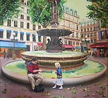 Paris - Fountain near l'Opera by Helen Imogen Field