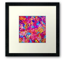 FLORAL FANTASY Bold Abstract Flowers Acrylic Textural Painting Neon Pink Turquoise Feminine Art Framed Print
