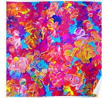 FLORAL FANTASY Bold Abstract Flowers Acrylic Textural Painting Neon Pink Turquoise Feminine Art Poster