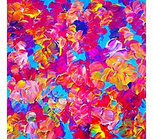 FLORAL FANTASY Bold Abstract Flowers Acrylic Textural Painting Neon Pink Turquoise Feminine Art Photographic Print