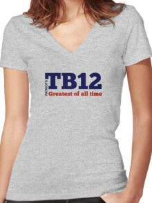 TB12: Greatest of All Time Women's Fitted V-Neck T-Shirt