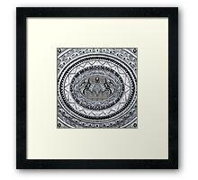 Bat God Black and white Aztec Pattern Framed Print