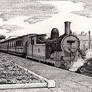 197 - STEAM TRAIN AT BLYTH (INK) 1994 by BLYTHART
