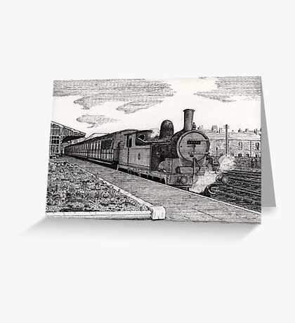 197 - STEAM TRAIN AT BLYTH (INK) 1994 Greeting Card