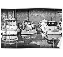 Reflection of boats in the harbour at  Ile De Ré Poster
