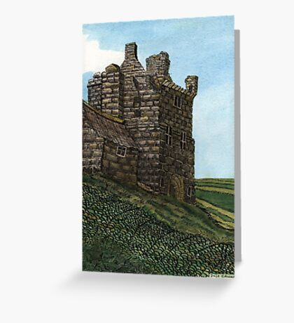 223 - MORPETH CASTLE IN 1777 - DAVE EDWARDS - INK & WASH - 2008 Greeting Card