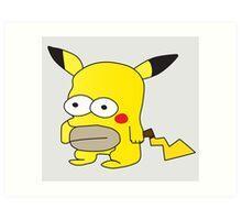 Pikachu + Homer Simpson Art Print