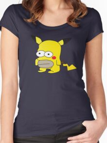 Pikachu + Homer Simpson Women's Fitted Scoop T-Shirt