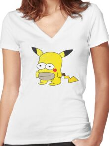 Pikachu + Homer Simpson Women's Fitted V-Neck T-Shirt