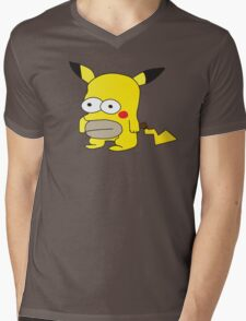 Pikachu + Homer Simpson Mens V-Neck T-Shirt