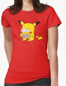 Pikachu + Homer Simpson Womens Fitted T-Shirt