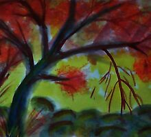 Under the old tree, watercolor by Anna  Lewis