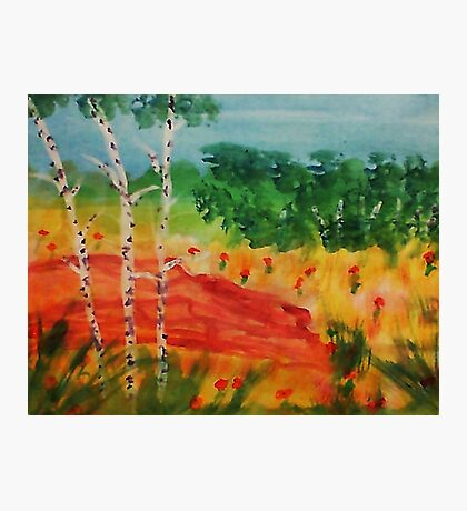 Lets pick flowers among the trees, watercolor Photographic Print