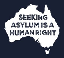 Seeking Asylum Is A Human Right (White) by M  Bianchi