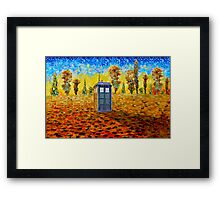 Blue phone booth at fall grass field painting Framed Print