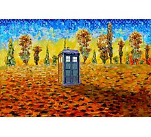 Blue phone booth at fall grass field painting Photographic Print