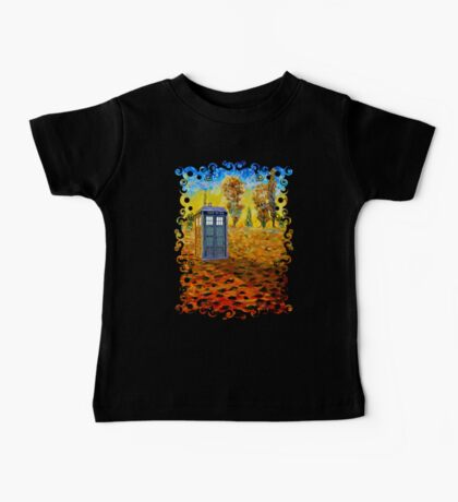 Blue phone booth at fall grass field painting Baby Tee