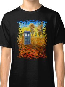 Blue phone booth at fall grass field painting Classic T-Shirt