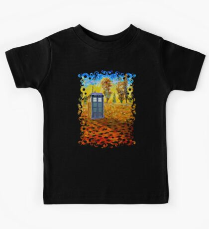 Blue phone booth at fall grass field painting Kids Tee