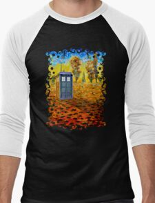 Blue phone booth at fall grass field painting Men's Baseball ¾ T-Shirt