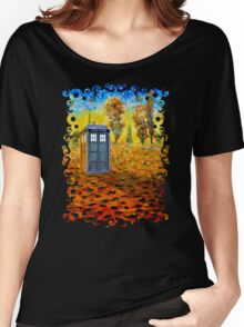Blue phone booth at fall grass field painting Women's Relaxed Fit T-Shirt