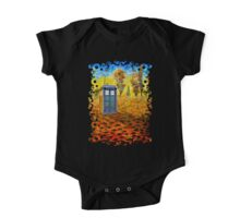 Blue phone booth at fall grass field painting One Piece - Short Sleeve