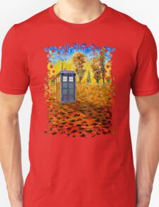 Blue phone booth at fall grass field painting Unisex T-Shirt