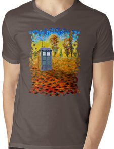 Blue phone booth at fall grass field painting Mens V-Neck T-Shirt