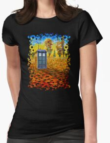 Blue phone booth at fall grass field painting Womens Fitted T-Shirt